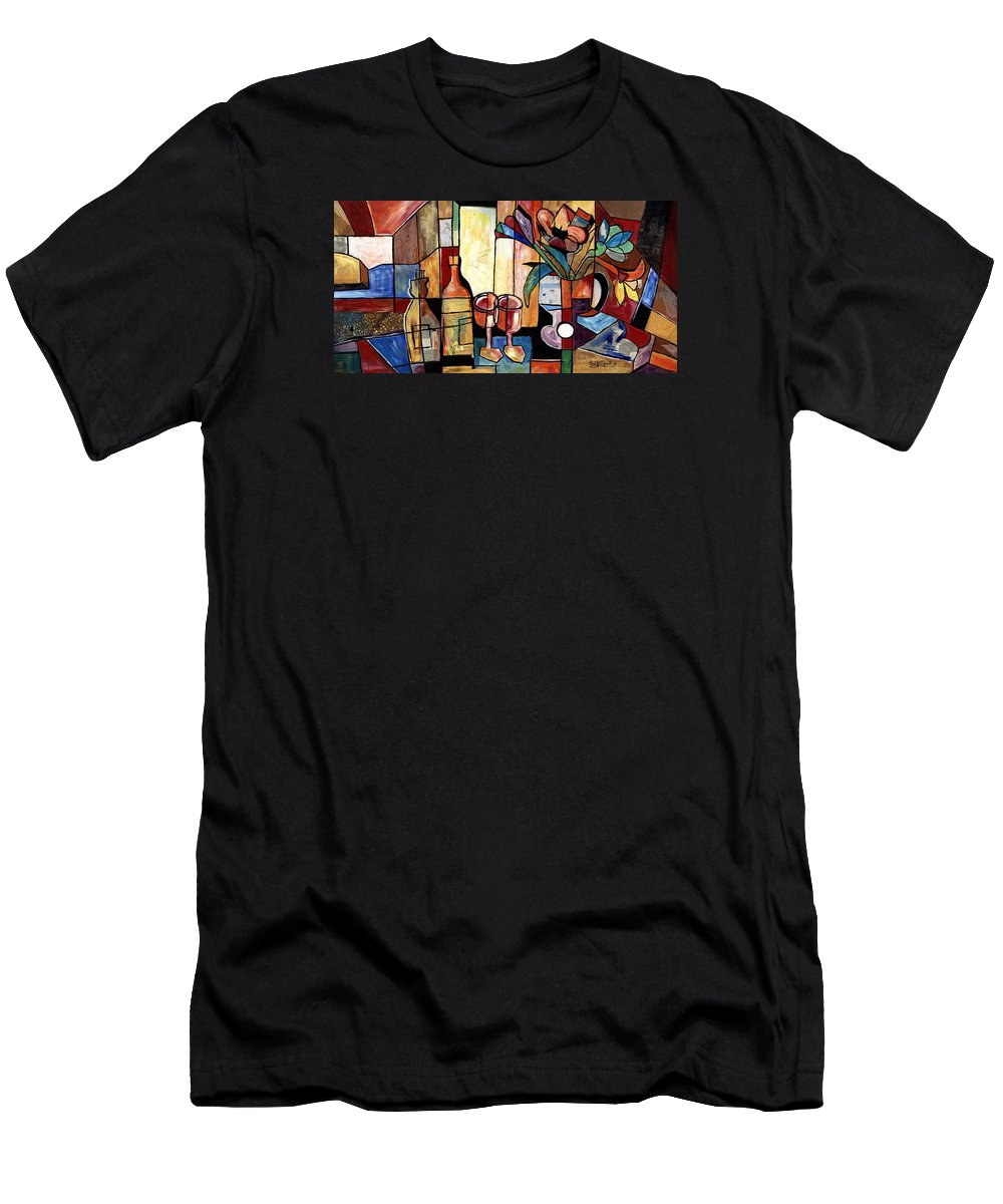 Everett Spruill T-Shirt featuring the painting Still Life with Wine and Flowers for two take 2 by Everett Spruill