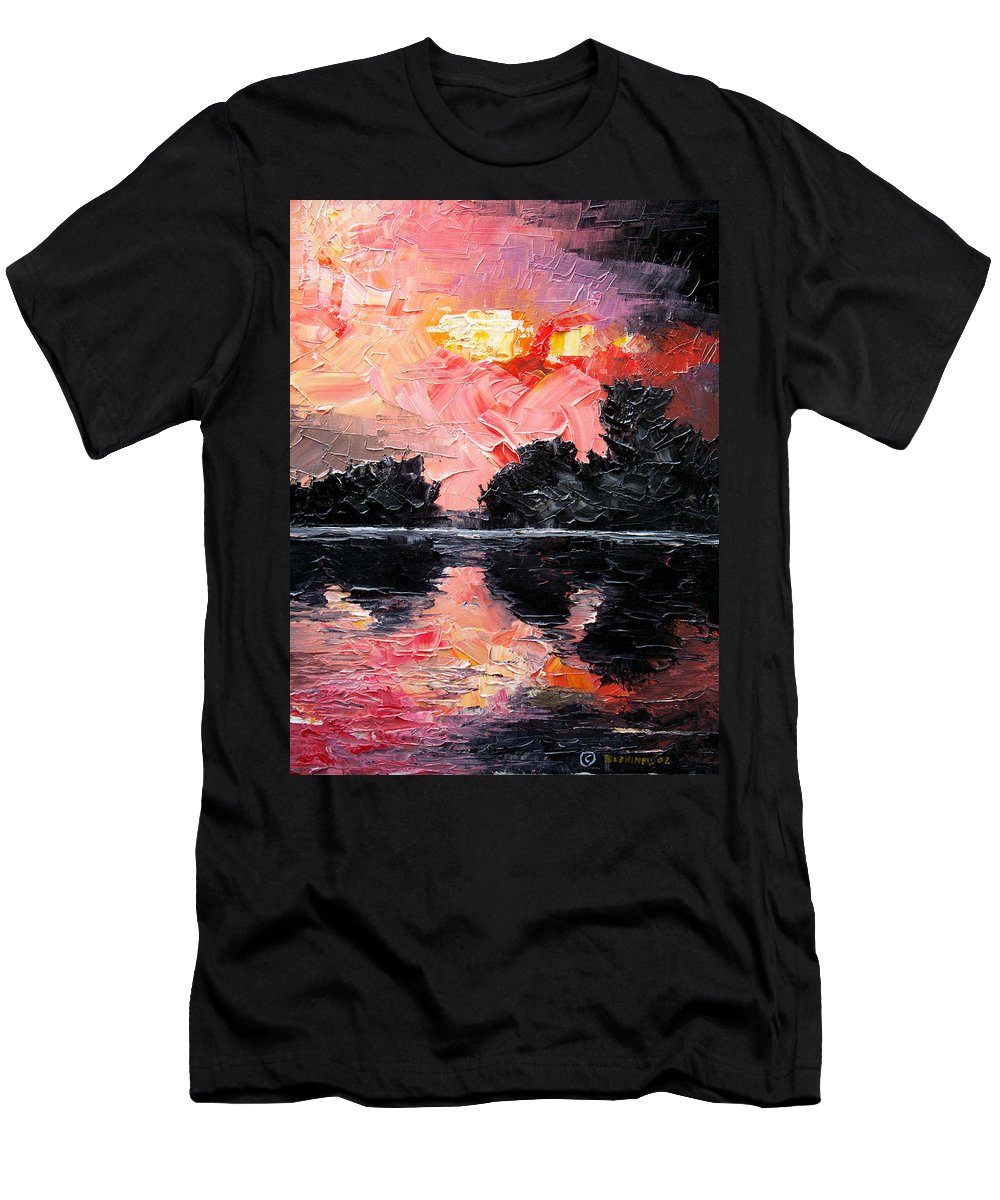 Lake After Storm T-Shirt featuring the painting Sunset. After storm. by Sergey Bezhinets