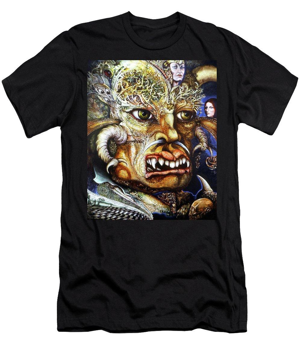 Surrealism Fantastic+realism Mythology Myth Beast Religion T-Shirt featuring the painting The Beast Of Babylon II by Otto Rapp