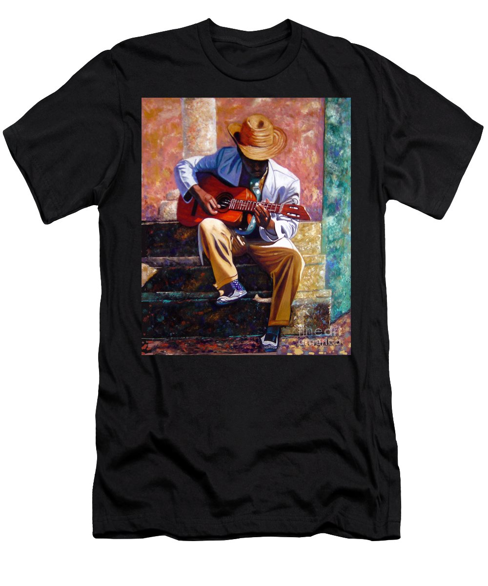 Cuban Art T-Shirt featuring the painting The Guitar Player by Jose Manuel Abraham
