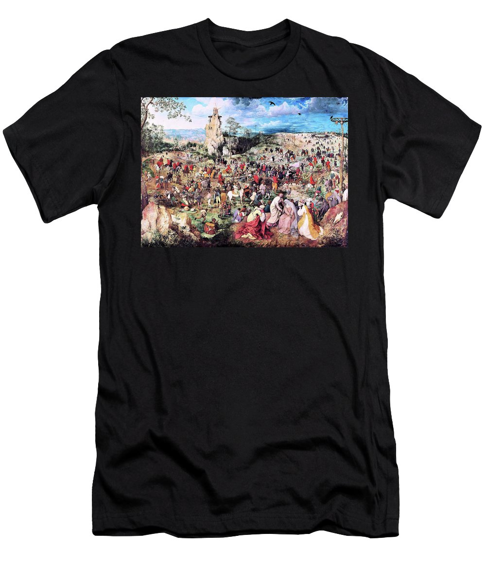 The Procession To Calvary T-Shirt featuring the painting The Procession To Calvary - Digital Remastered Edition by Pieter Bruegel