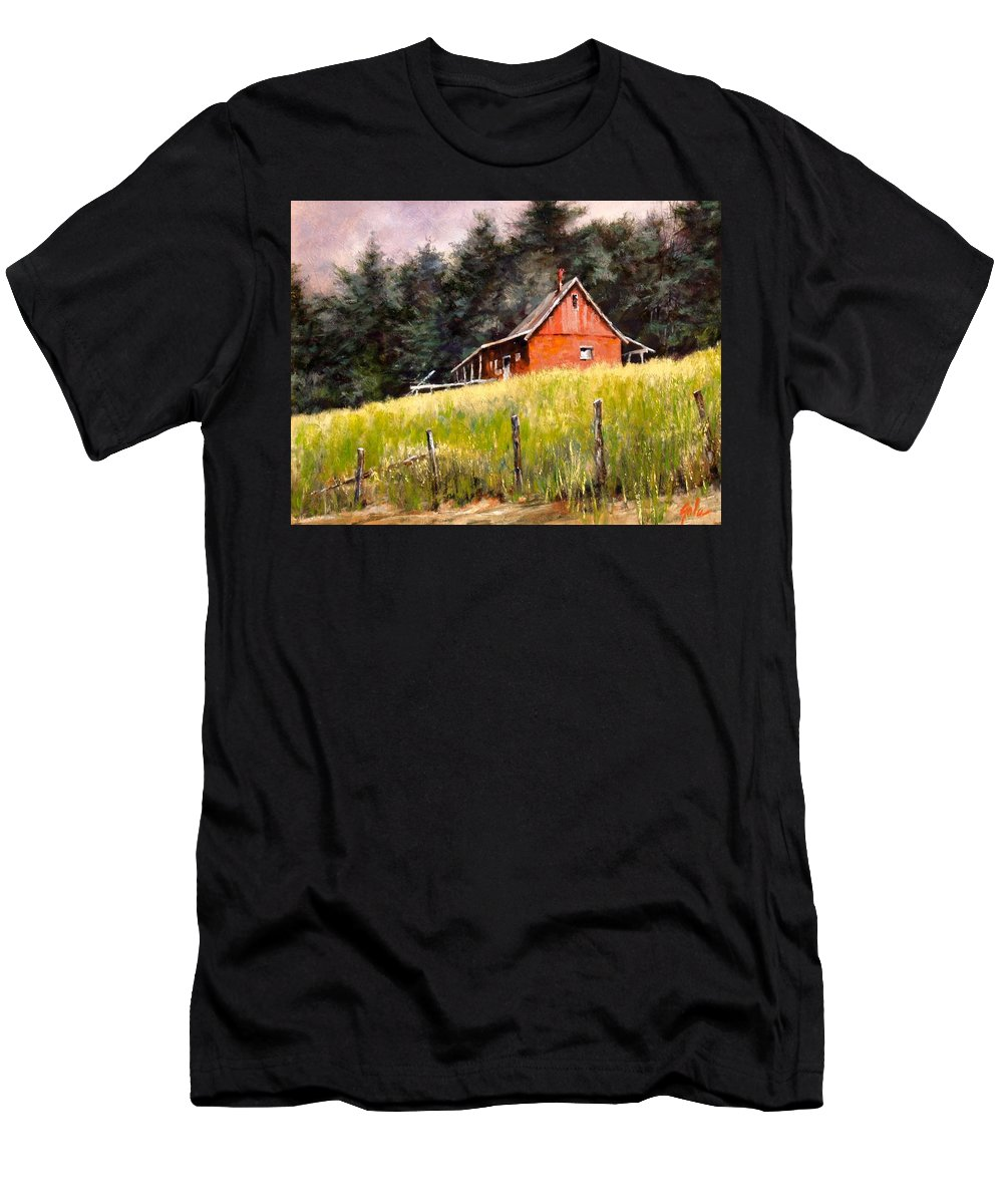 Landscape T-Shirt featuring the painting The Red Coach Stop by Jim Gola