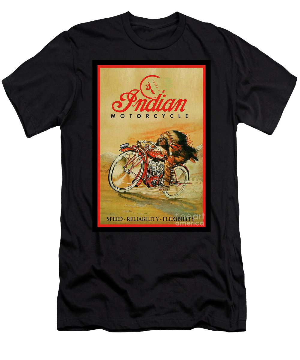 Vintage Indian Motorcycle Sign Big Chief With Border T Shirt For Sale By Scott D Van Osdol