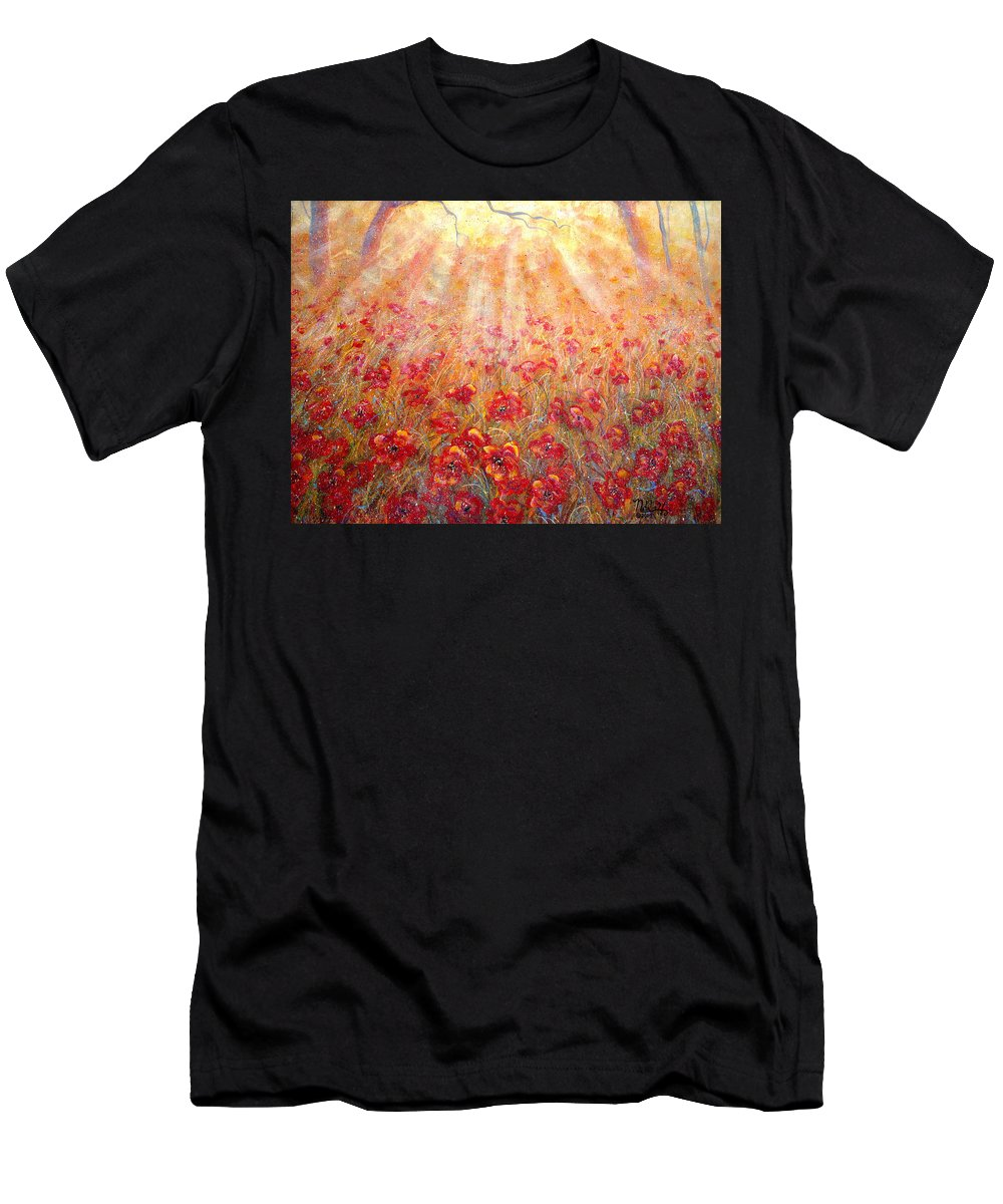 Landscape T-Shirt featuring the painting Warm Sun Rays by Natalie Holland