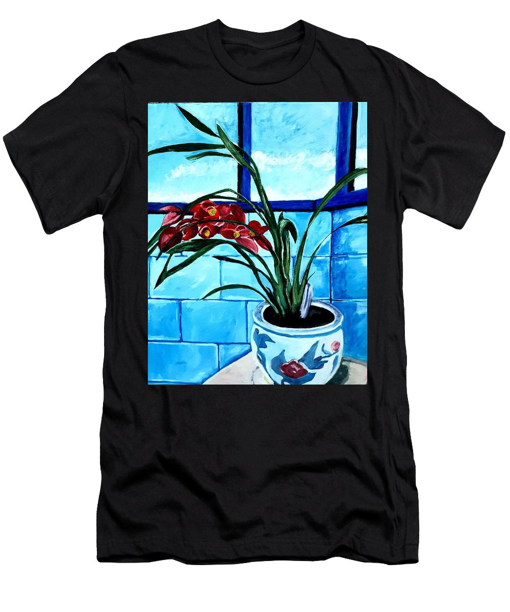 Still Life T-Shirt featuring the painting Welcome Flower by Andrew Johnson