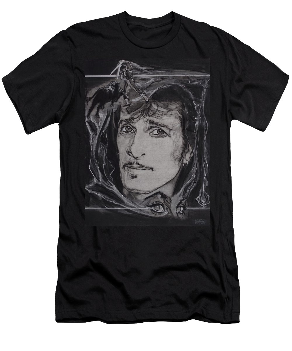 Charcoal On Paper T-Shirt featuring the drawing Willy DeVille - Coup de Grace by Sean Connolly