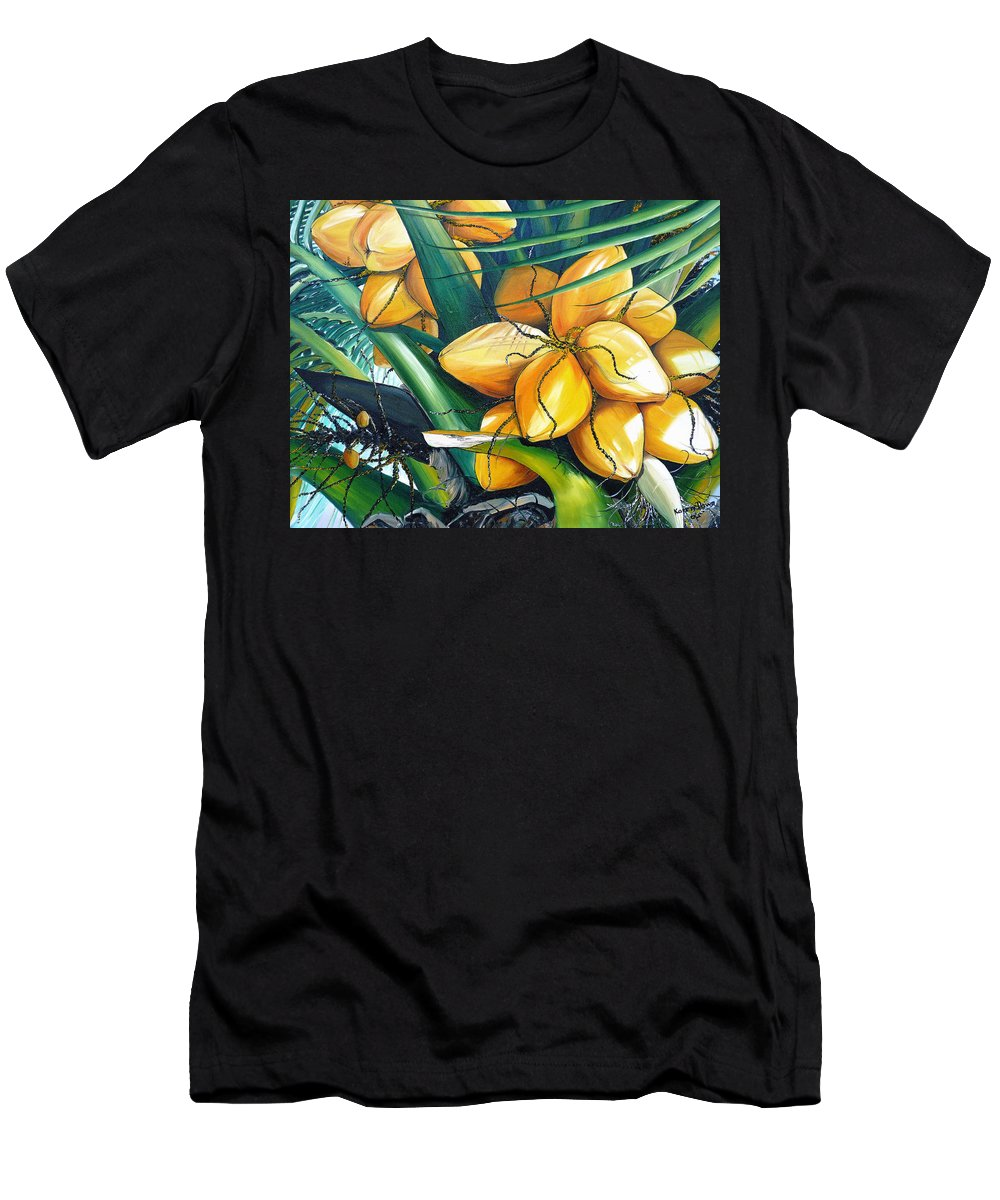 Coconut Painting Botanical Painting  Tropical Painting Caribbean Painting Original Painting Of Yellow Coconuts On The Palm Tree T-Shirt featuring the painting Yellow Coconuts by Karin Dawn Kelshall- Best