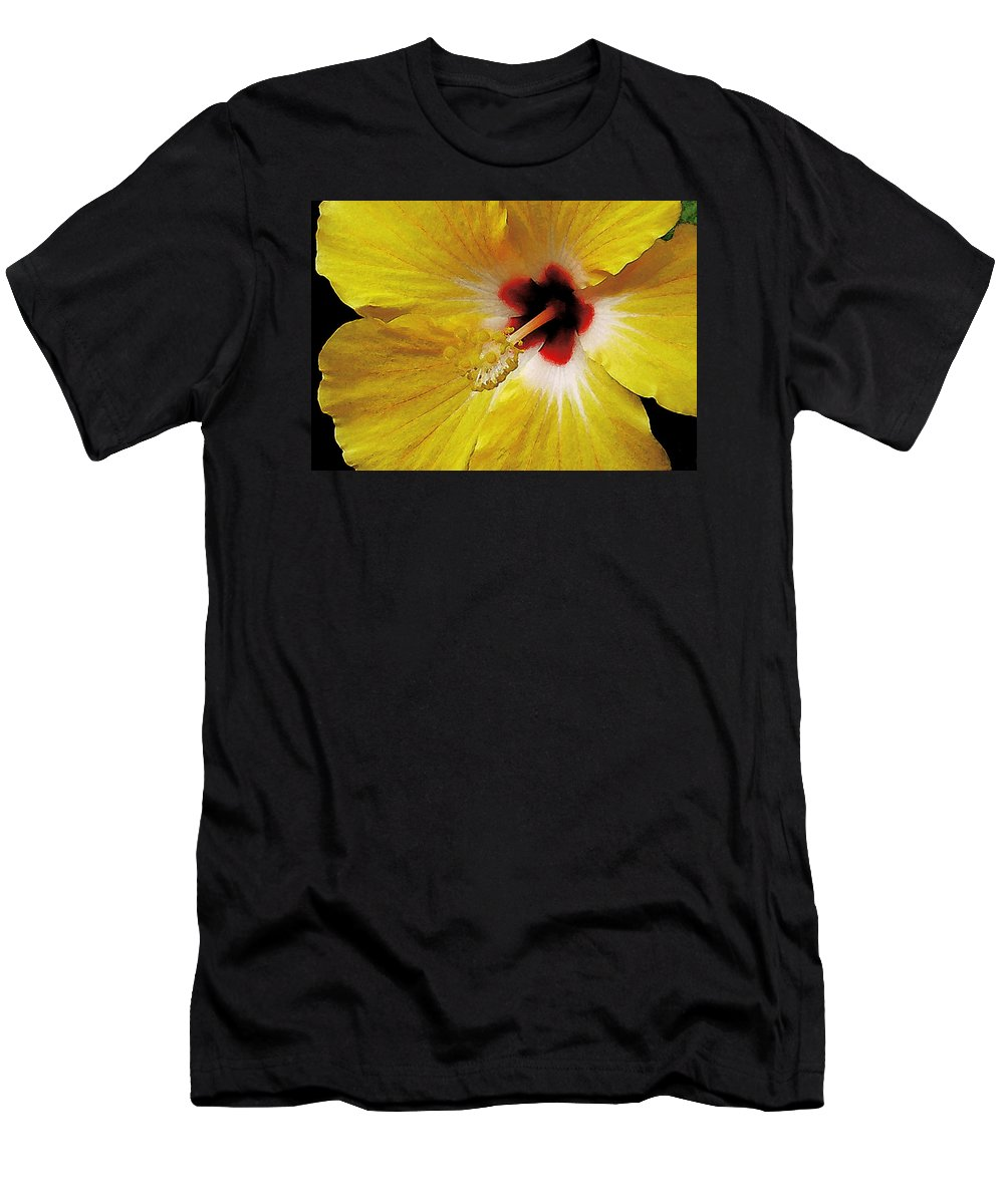 Hawaii Iphone Cases T-Shirt featuring the photograph Yellow Hibiscus With Red Center by James Temple