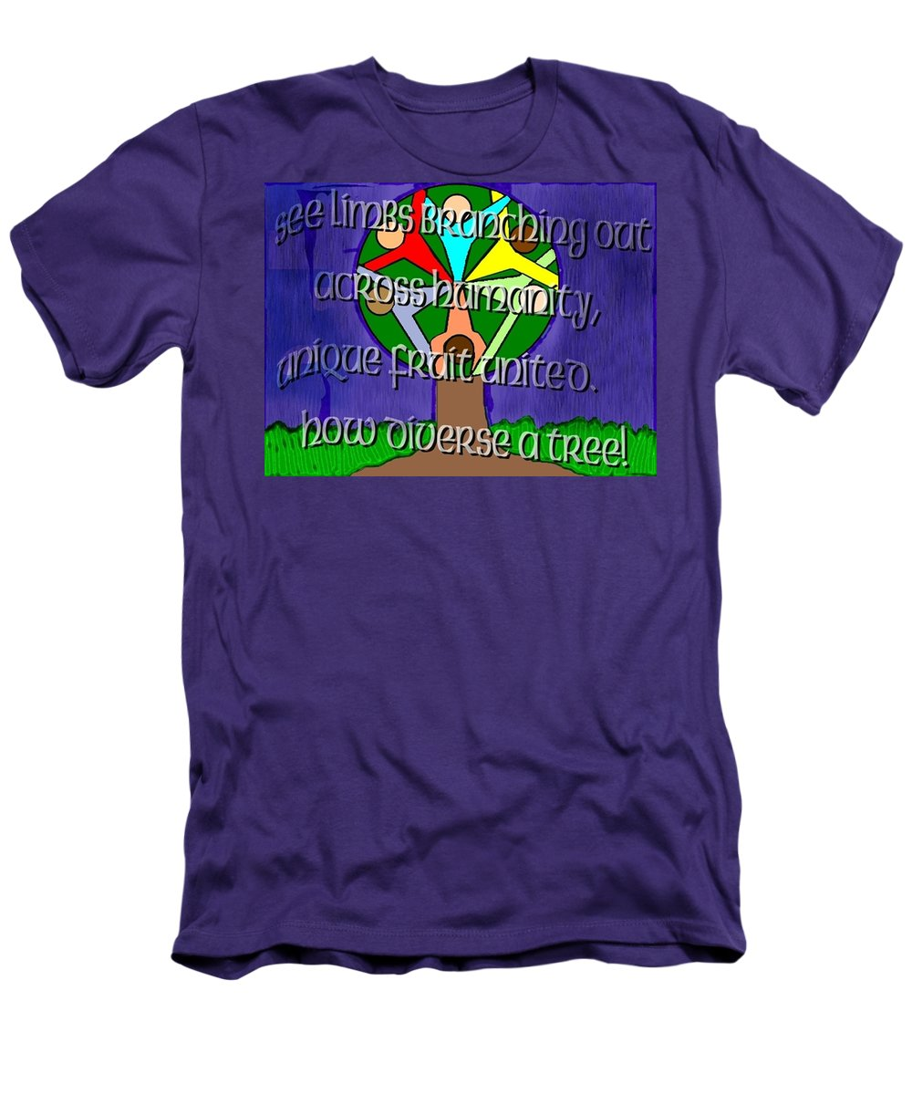 Diversity Men's T-Shirt (Athletic Fit) featuring the painting Diversity Tree by Pharris Art