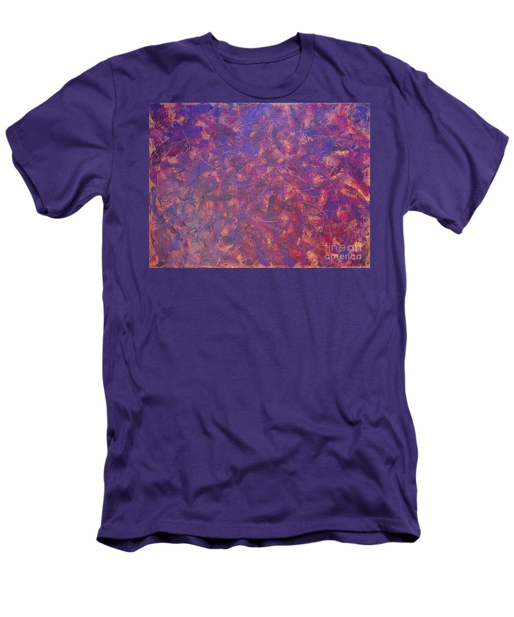 Abstract Men's T-Shirt (Athletic Fit) featuring the painting Long Beach 5am by Dean Triolo