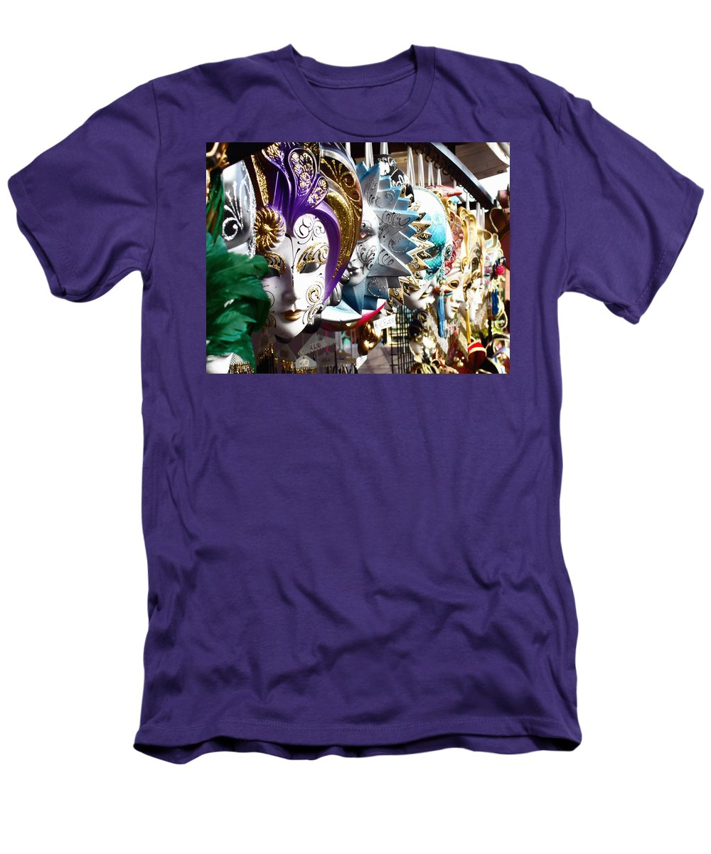 Venetian Masks Men's T-Shirt (Athletic Fit) featuring the photograph Venetian Masks 1 by Ellen Henneke