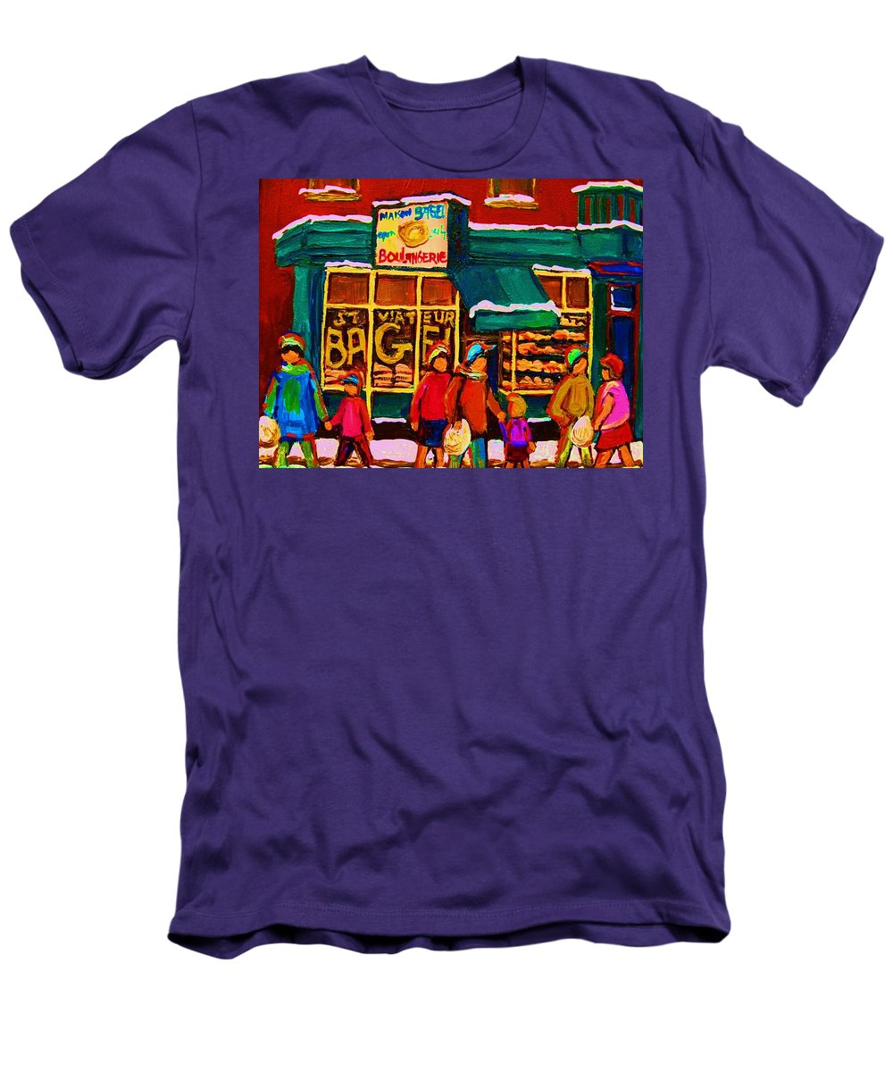 St. Viateur Bagel Men's T-Shirt (Athletic Fit) featuring the painting St. Viateur Bagel Family Bakery by Carole Spandau
