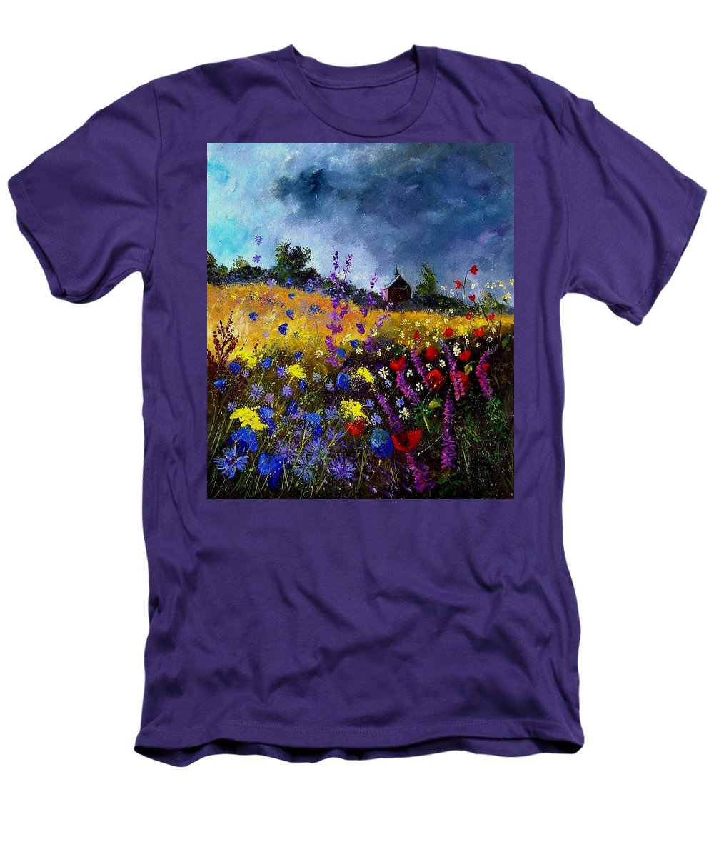 Flowers Men's T-Shirt (Athletic Fit) featuring the painting Old Chapel And Flowers by Pol Ledent