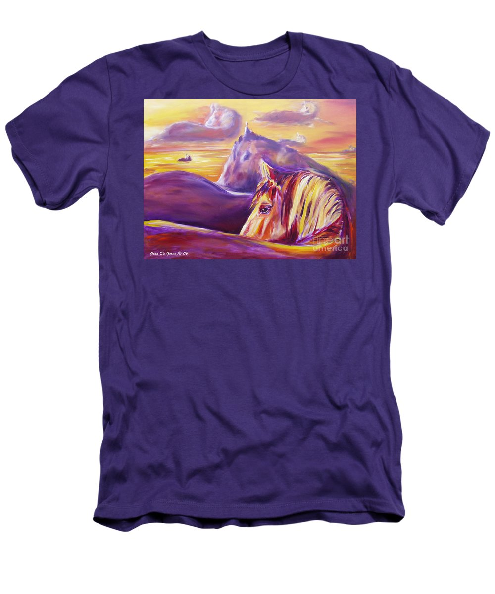 Horses Men's T-Shirt (Athletic Fit) featuring the painting Horse World by Gina De Gorna