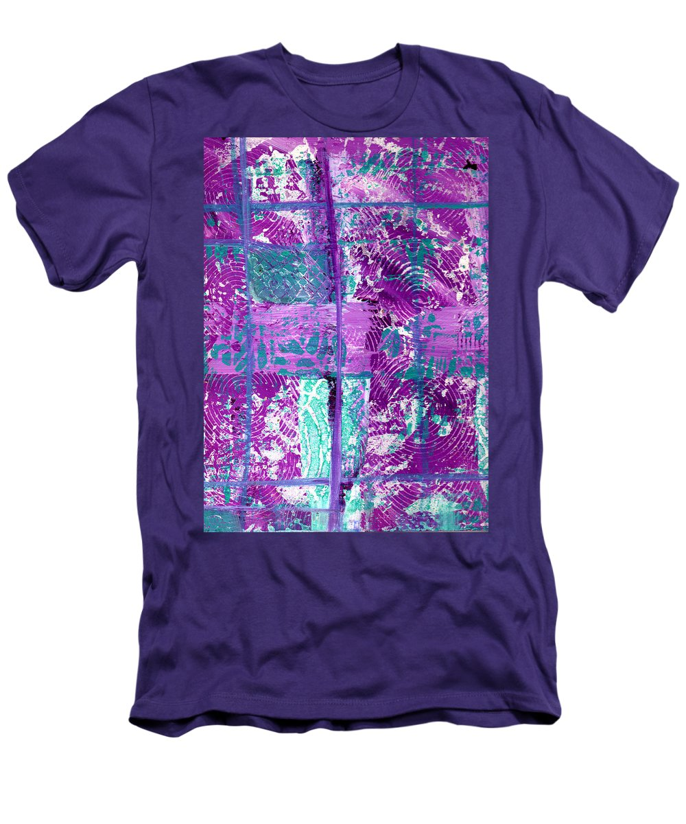 Abstract Men's T-Shirt (Athletic Fit) featuring the painting Abstract In Purple And Teal by Wayne Potrafka
