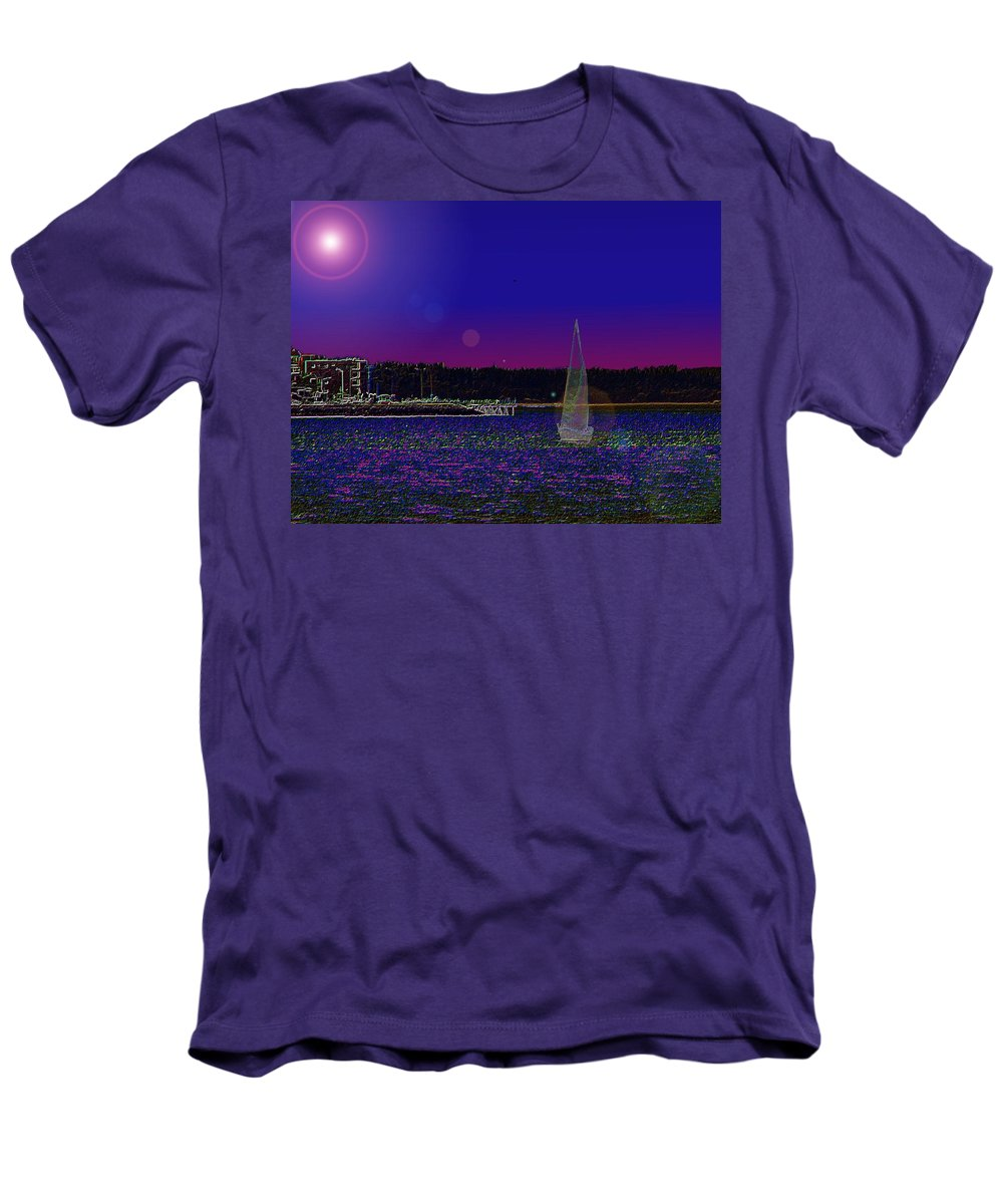 Seattle Men's T-Shirt (Athletic Fit) featuring the digital art Alki Ghost Sail by Tim Allen