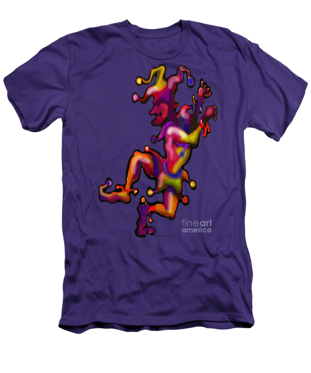 Mardi Gras Men's T-Shirt (Athletic Fit) featuring the painting Mardi Gras Jester by Kevin Middleton