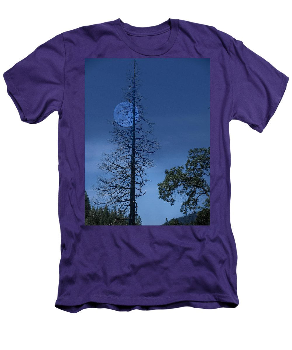 Landscape Men's T-Shirt (Athletic Fit) featuring the photograph Blue Moon by Karen W Meyer