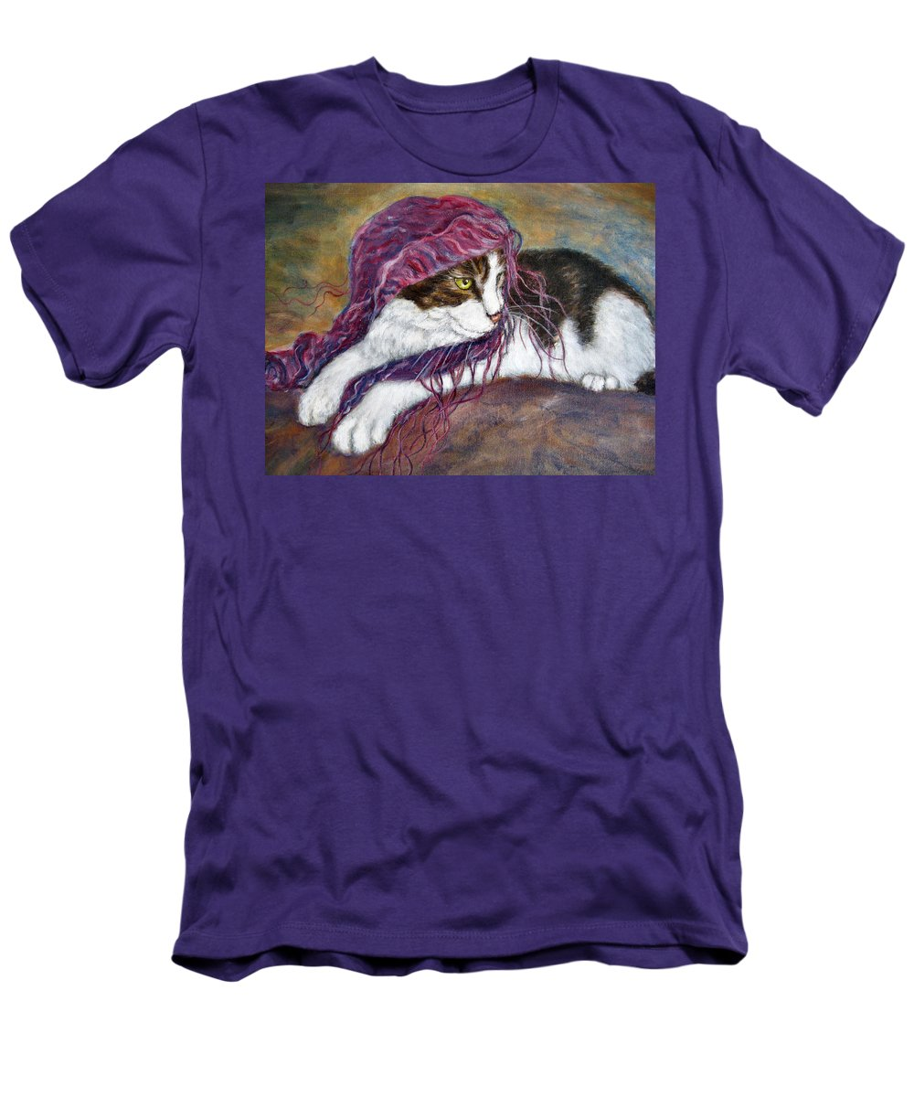 Tortoise Cat Men's T-Shirt (Athletic Fit) featuring the painting Cat Painting Charlie The Pirate by Frances Gillotti