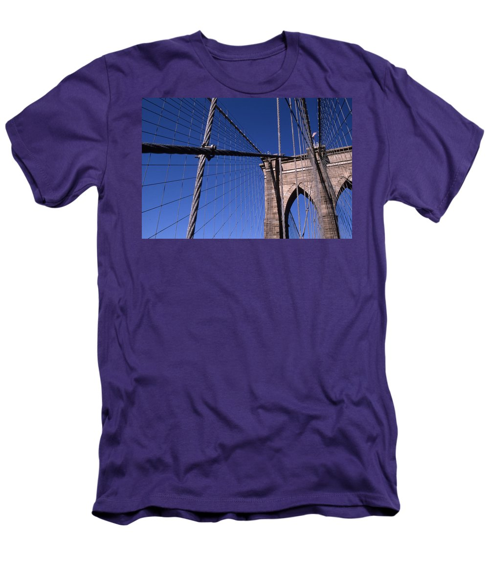 Landscape Brooklyn Bridge New York City Men's T-Shirt (Athletic Fit) featuring the photograph Cnrg0405 by Henry Butz