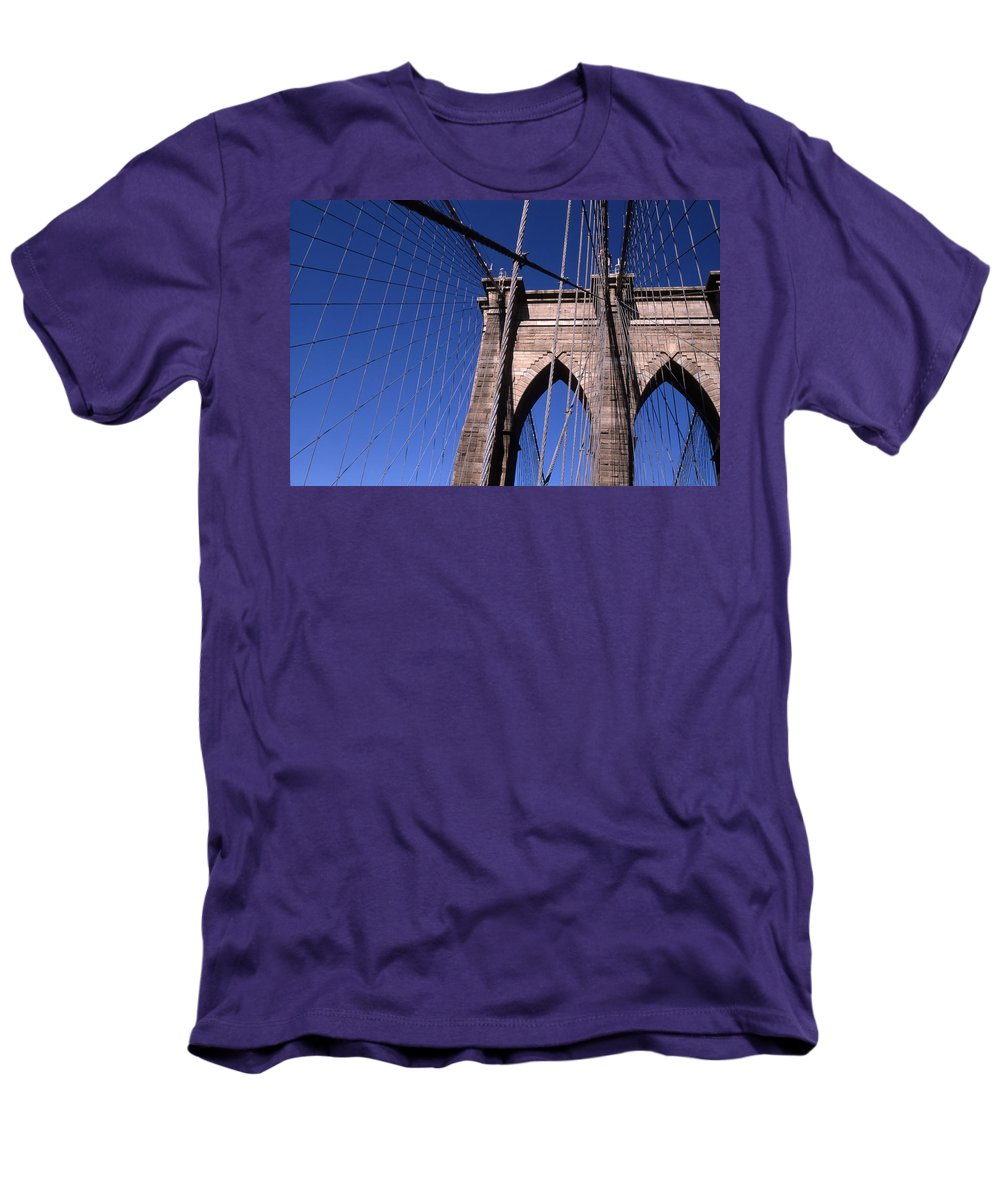 Landscape Brooklyn Bridge New York City Men's T-Shirt (Athletic Fit) featuring the photograph Cnrg0406 by Henry Butz