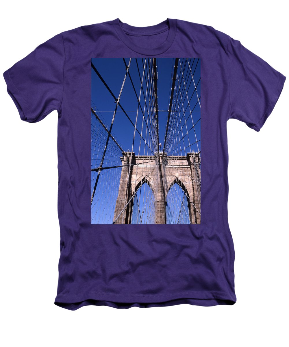 Landscape Brooklyn Bridge New York City Men's T-Shirt (Athletic Fit) featuring the photograph Cnrg0407 by Henry Butz