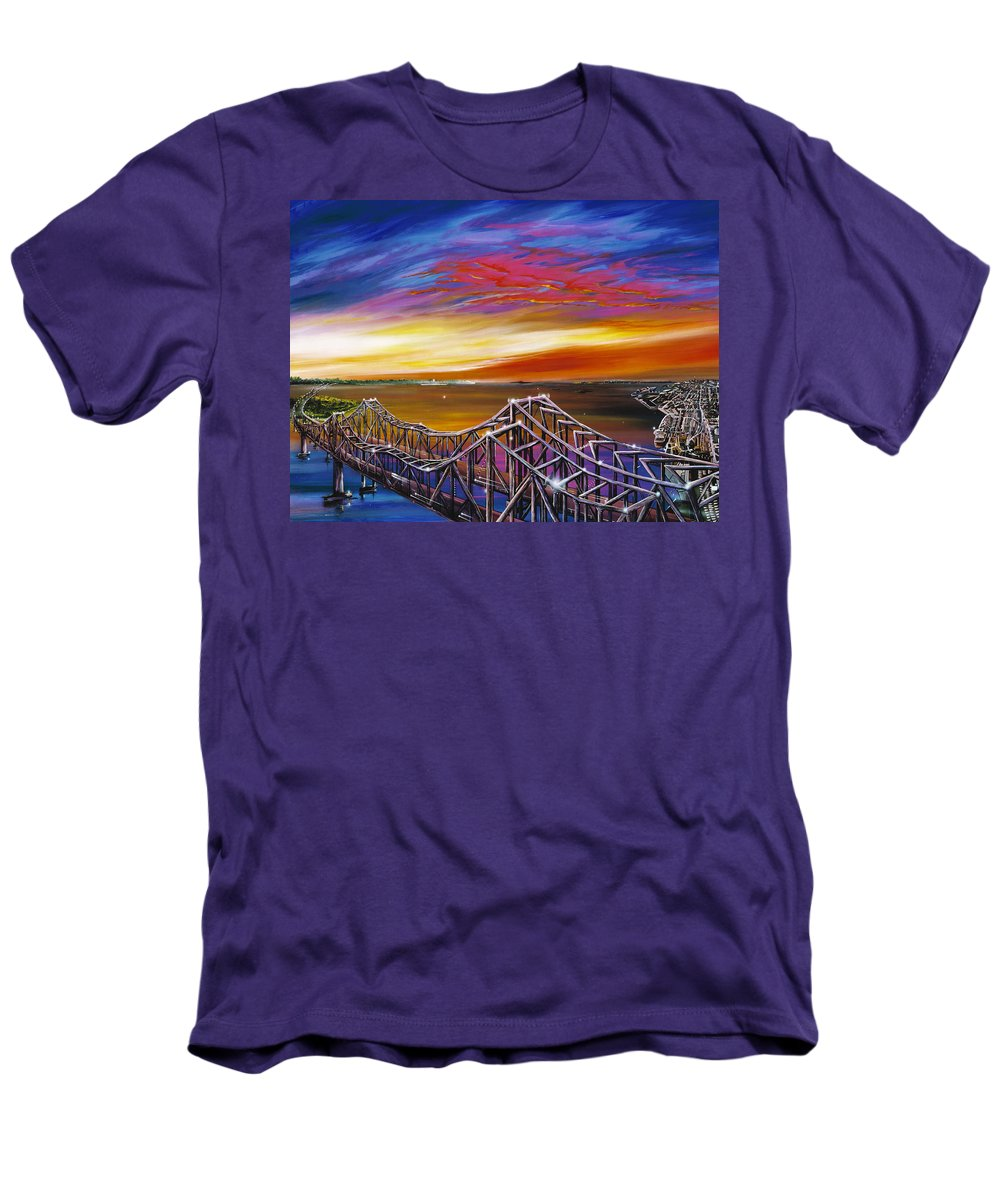 Clouds Men's T-Shirt (Athletic Fit) featuring the painting Cooper River Bridge by James Christopher Hill