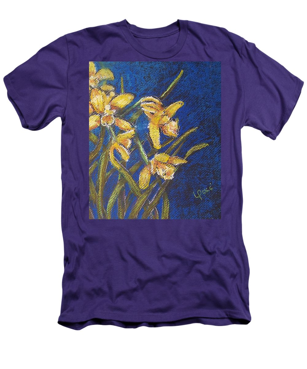 Daffodils Men's T-Shirt (Athletic Fit) featuring the painting Daffodils by Laurie Paci