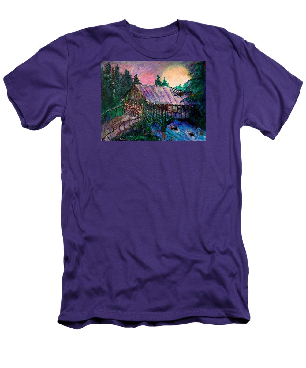 Dangerous Bridge Men's T-Shirt (Athletic Fit) featuring the painting Dangerous Bridge by Seth Weaver