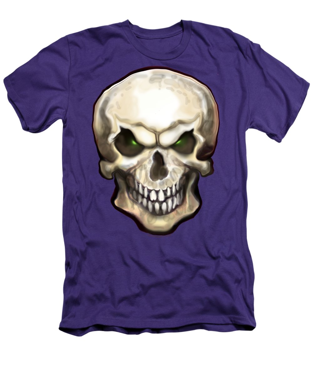 Skull Men's T-Shirt (Athletic Fit) featuring the painting Evil Skull by Kevin Middleton
