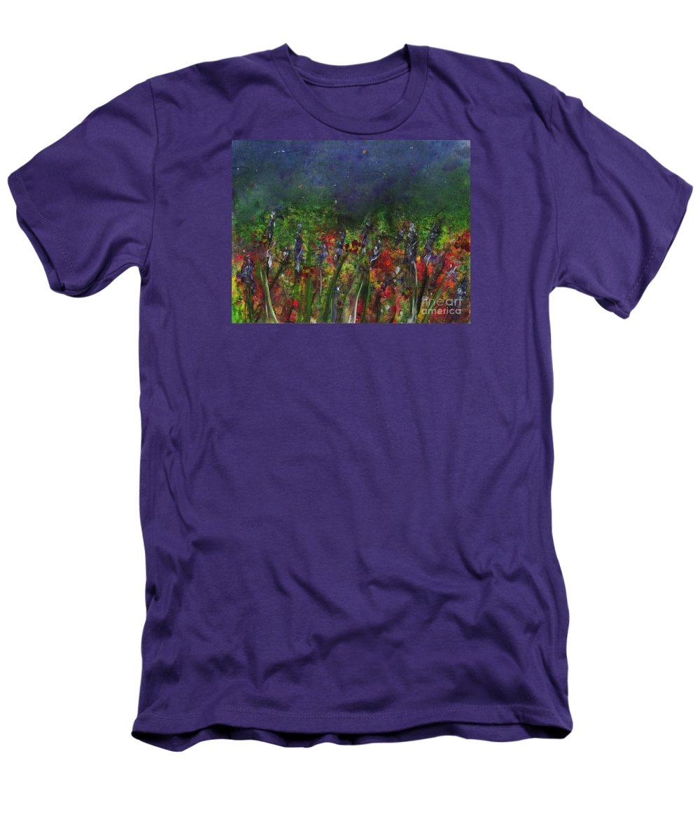Flowers Men's T-Shirt (Athletic Fit) featuring the painting Field Of Flowers by Lynn Quinn