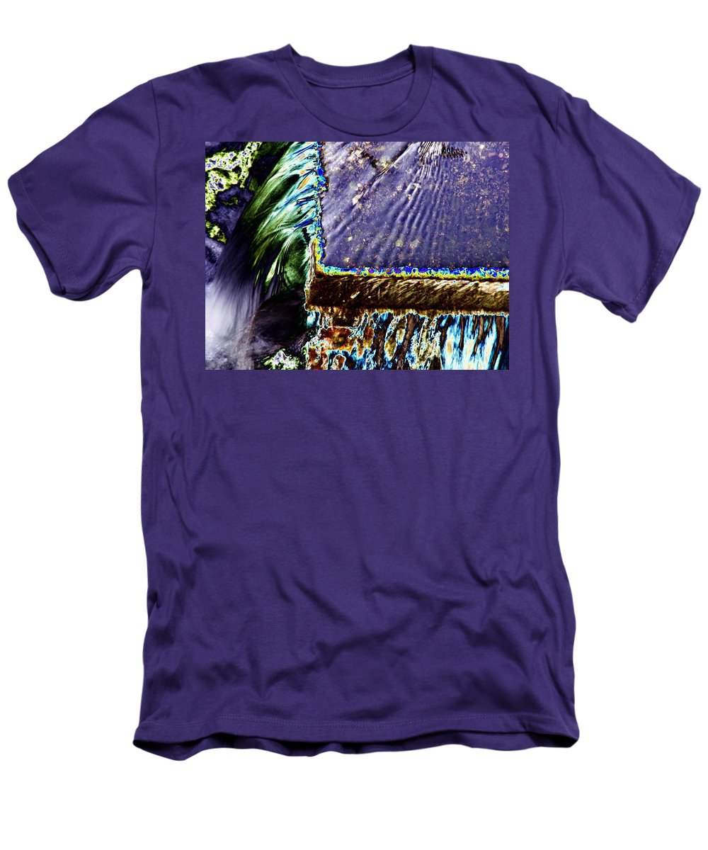 Seattle Men's T-Shirt (Athletic Fit) featuring the digital art Freeway Park Waterfall by Tim Allen