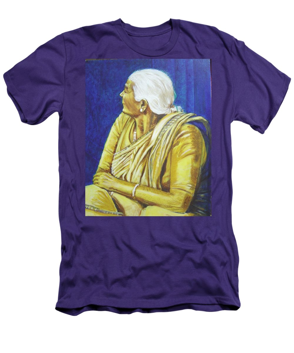 Usha Men's T-Shirt (Athletic Fit) featuring the painting Golden Age 1 by Usha Shantharam