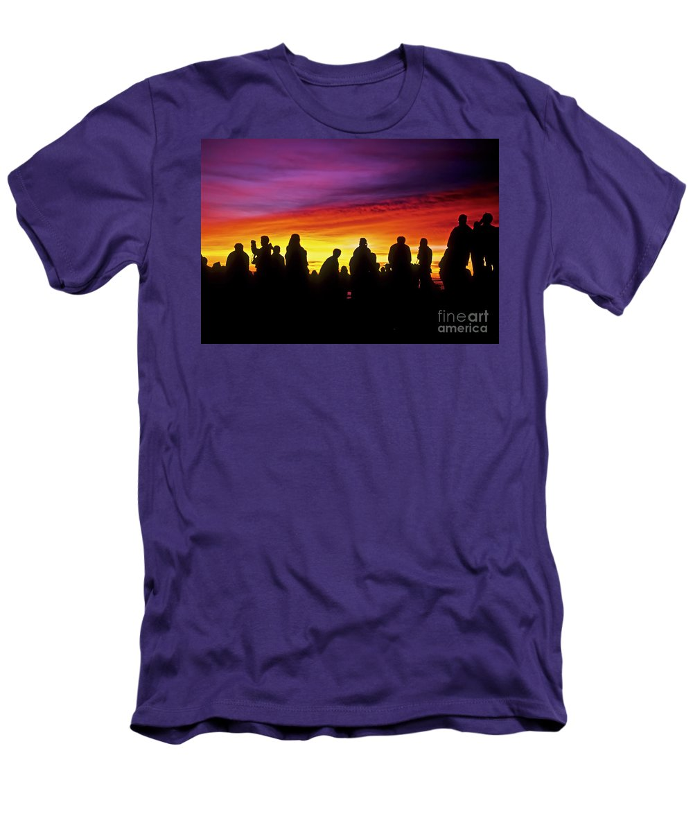 Haleakala Sunrise Men's T-Shirt (Athletic Fit) featuring the photograph Haleakala Color Show by Jim Cazel