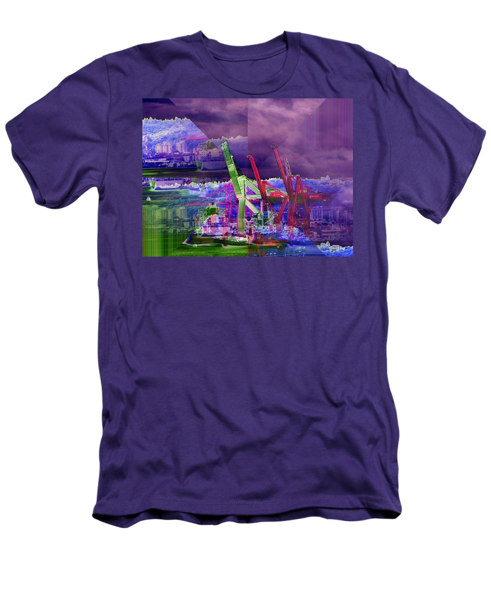 Seattle Men's T-Shirt (Athletic Fit) featuring the digital art Harbor Island Workhorses by Tim Allen