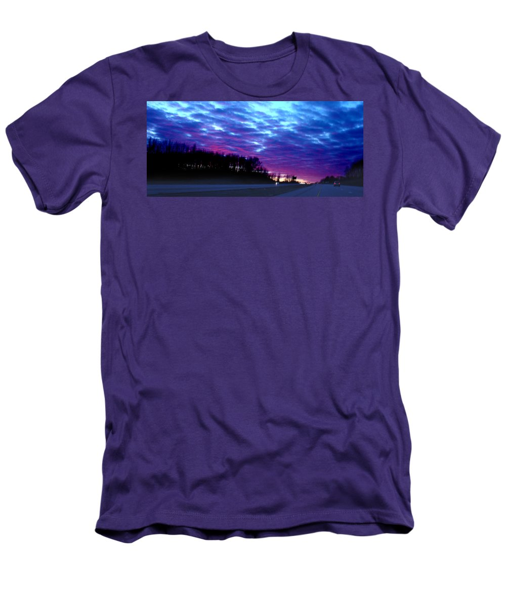 Landscape Men's T-Shirt (Athletic Fit) featuring the photograph I70 West Ohio by Steve Karol