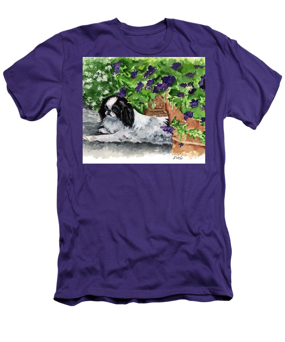 Japanese Chin Men's T-Shirt (Athletic Fit) featuring the painting Japanese Chin Puppy And Petunias by Kathleen Sepulveda