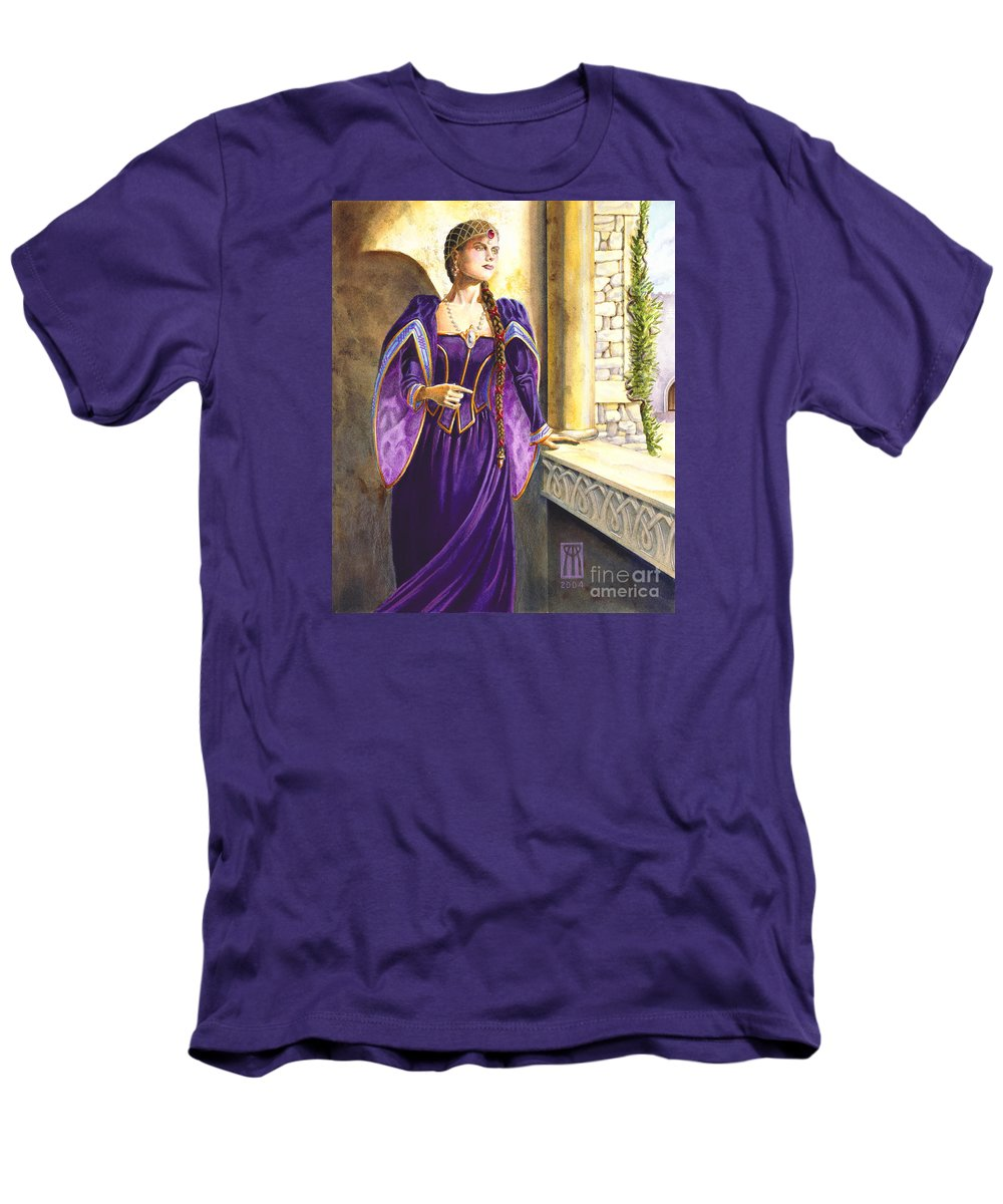 Camelot Men's T-Shirt (Athletic Fit) featuring the painting Lady Ettard by Melissa A Benson
