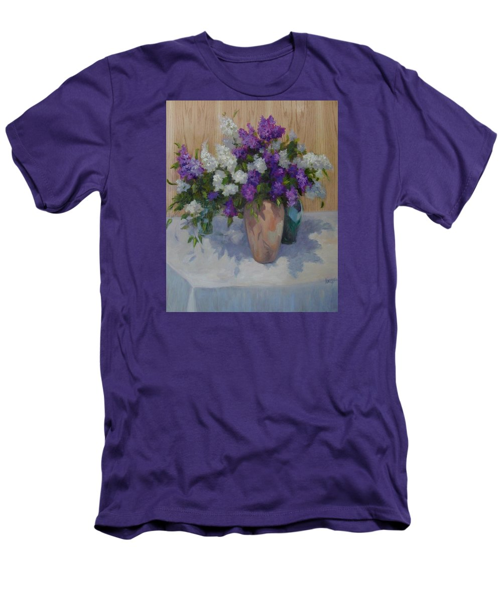 Lilacs Men's T-Shirt (Athletic Fit) featuring the painting Lilacs by Patricia Kness