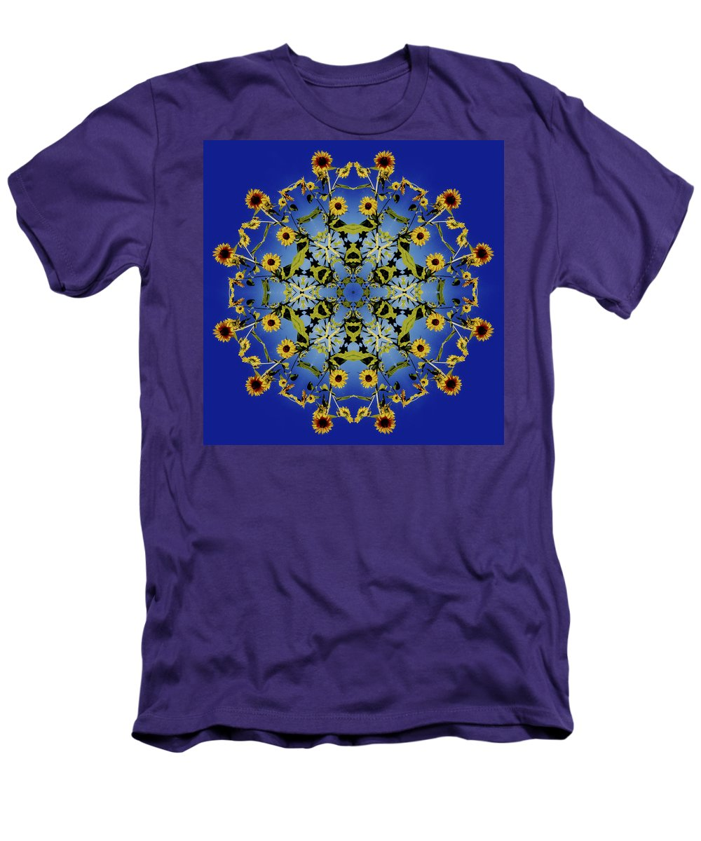 Mandala Men's T-Shirt (Athletic Fit) featuring the digital art Mandala Sunflower by Nancy Griswold