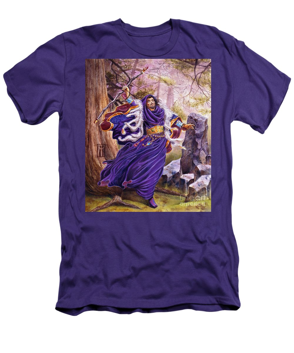 Artwork Men's T-Shirt (Athletic Fit) featuring the painting Merlin by Melissa A Benson