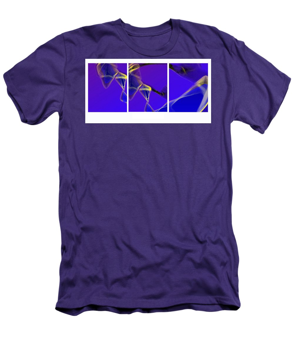 Abstract Men's T-Shirt (Athletic Fit) featuring the digital art Movement In Blue by Steve Karol