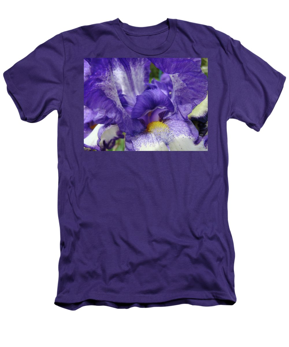 Office Men's T-Shirt (Athletic Fit) featuring the photograph Office Art Prints Iris Flowers Purple White Irises 40 Giclee Prints Baslee Troutman by Baslee Troutman