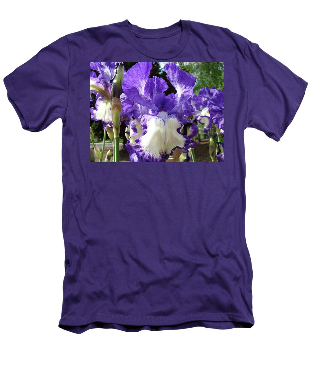 Floral Men's T-Shirt (Athletic Fit) featuring the photograph Office Art Prints Irises Purple White Iris Flowers 39 Giclee Prints Baslee Troutman by Baslee Troutman
