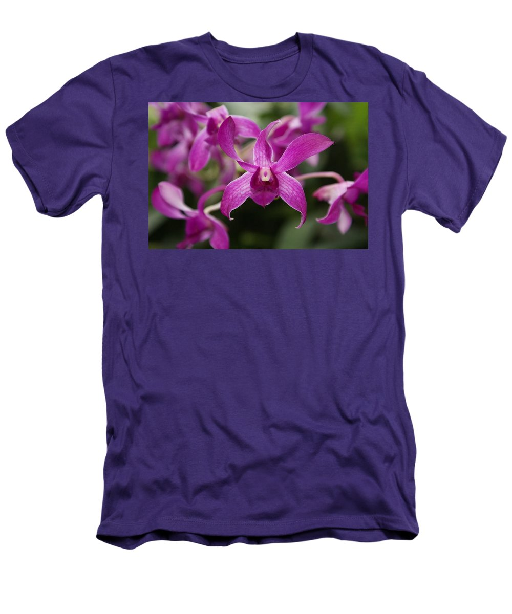 Orchid Men's T-Shirt (Athletic Fit) featuring the photograph Orchid by Heather Coen