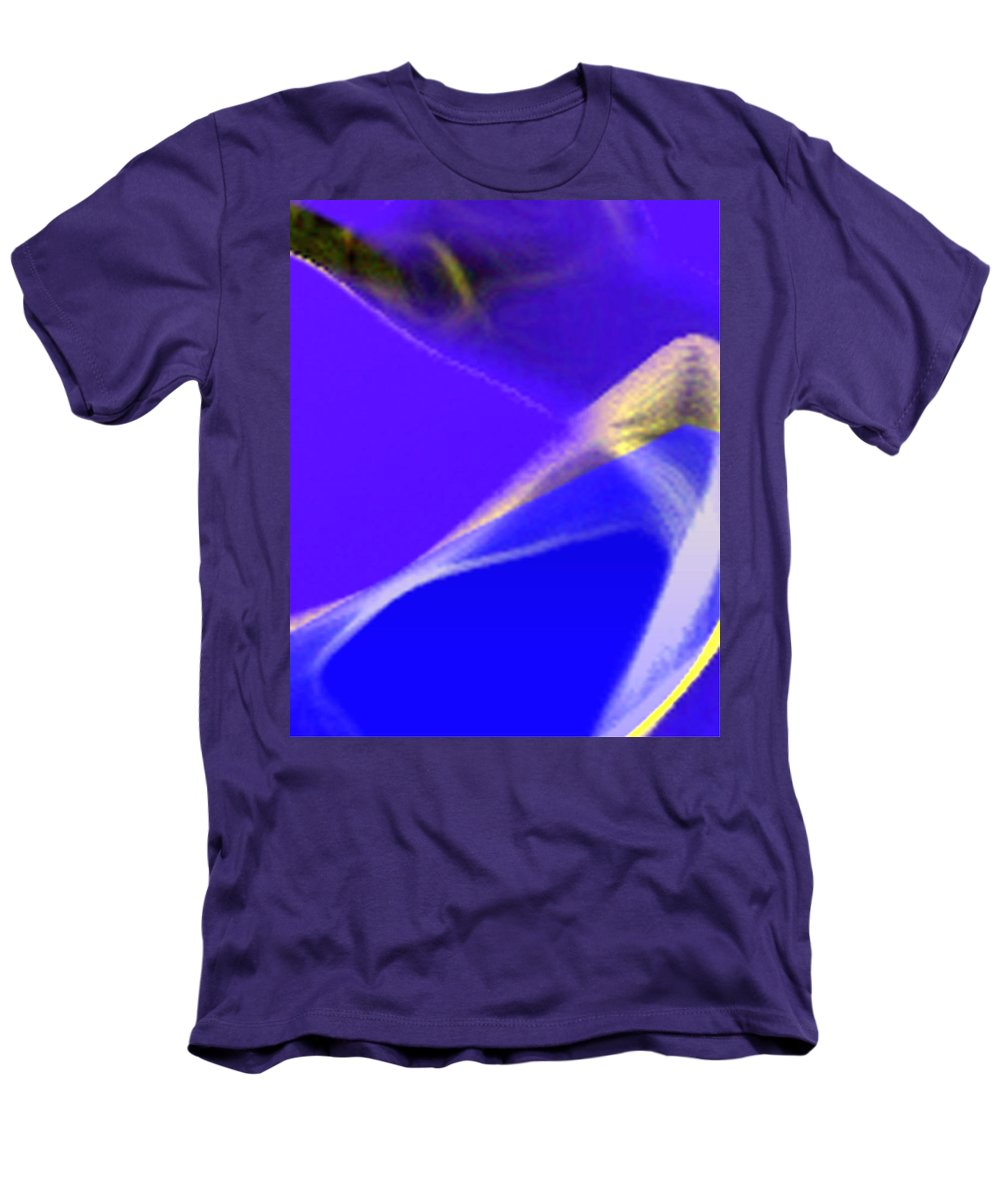Abstract Men's T-Shirt (Athletic Fit) featuring the digital art panel three from Movement in Blue by Steve Karol