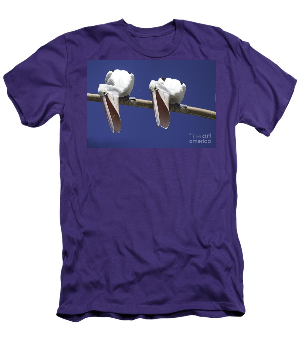 Pelican Men's T-Shirt (Athletic Fit) featuring the photograph Pelican Burp by Sheila Smart Fine Art Photography
