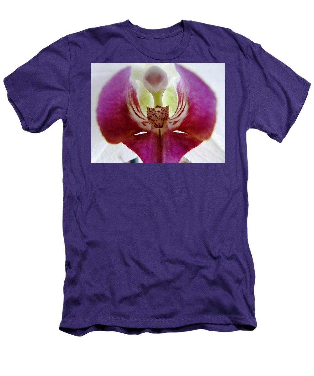 Flower Men's T-Shirt (Athletic Fit) featuring the photograph Phalaenopsis Orchid Detail by Valerie Ornstein