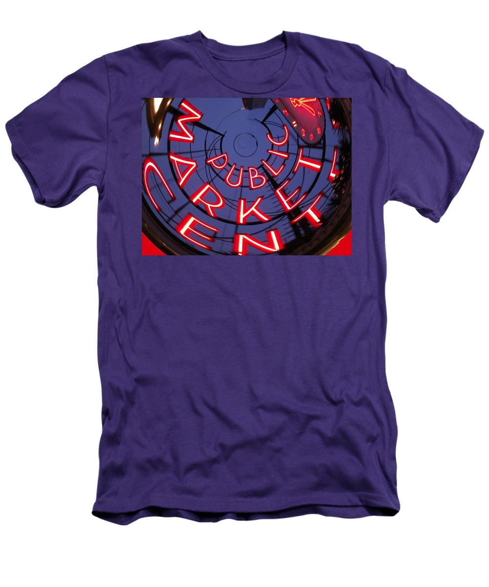 Seattle Men's T-Shirt (Athletic Fit) featuring the photograph Pike Place Market Entrance by Tim Allen