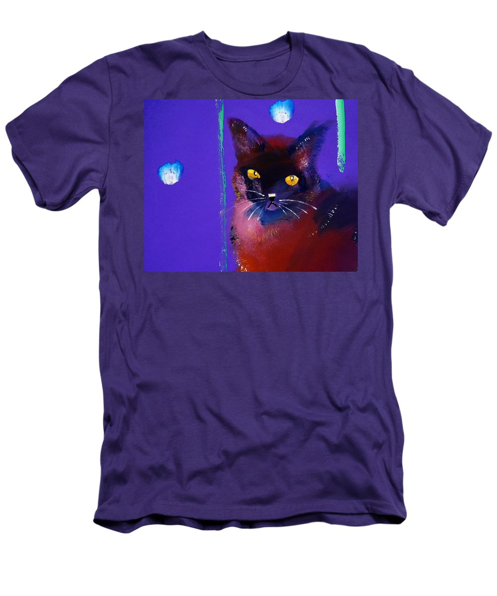 Cat Men's T-Shirt (Athletic Fit) featuring the painting Posh Tom Cat by Charles Stuart